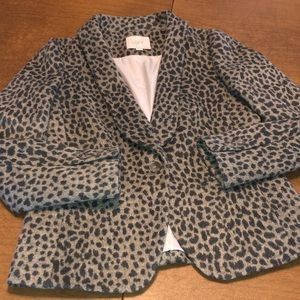 LOFT Cheetah Wool Blend Jacket Blazer Size 4P